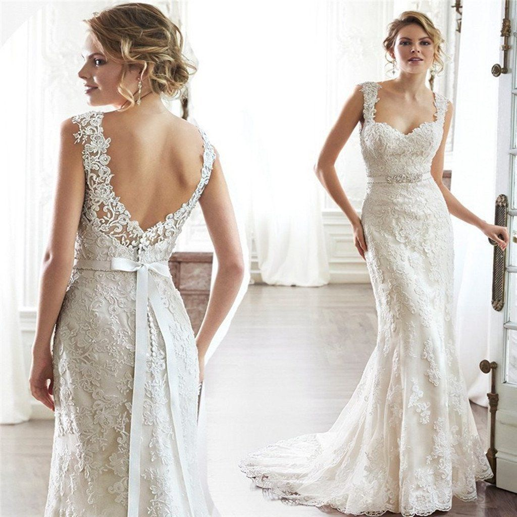 Lace wedding dress open back mermaid  Fitted lace wedding dress sexy mermaid wedding dress Open Back