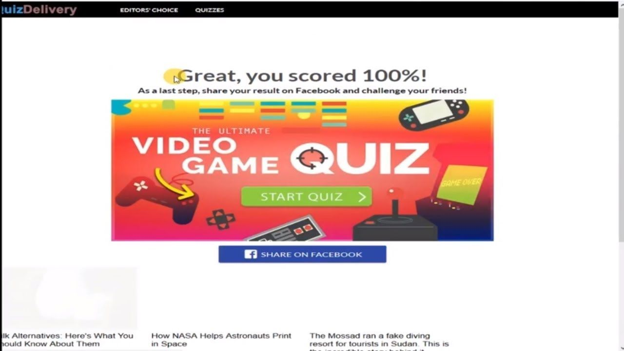 Video Game Quiz Answers UPDATE QUIZDELIVERY 100% Score