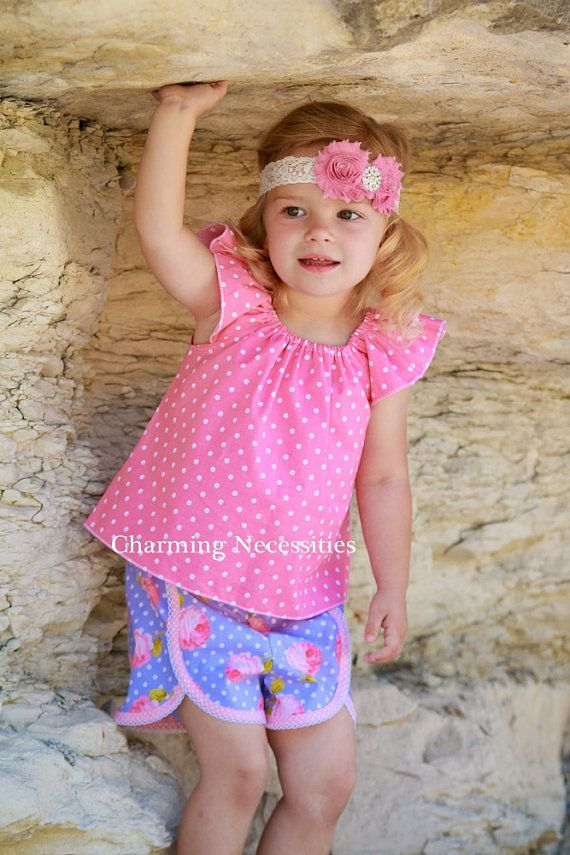 Summer Girls Flutter Top and Shorts Set in Proper Lady by Charming Necessities, Vintage Shabby Chic Toddler Girl Boutique Clothing