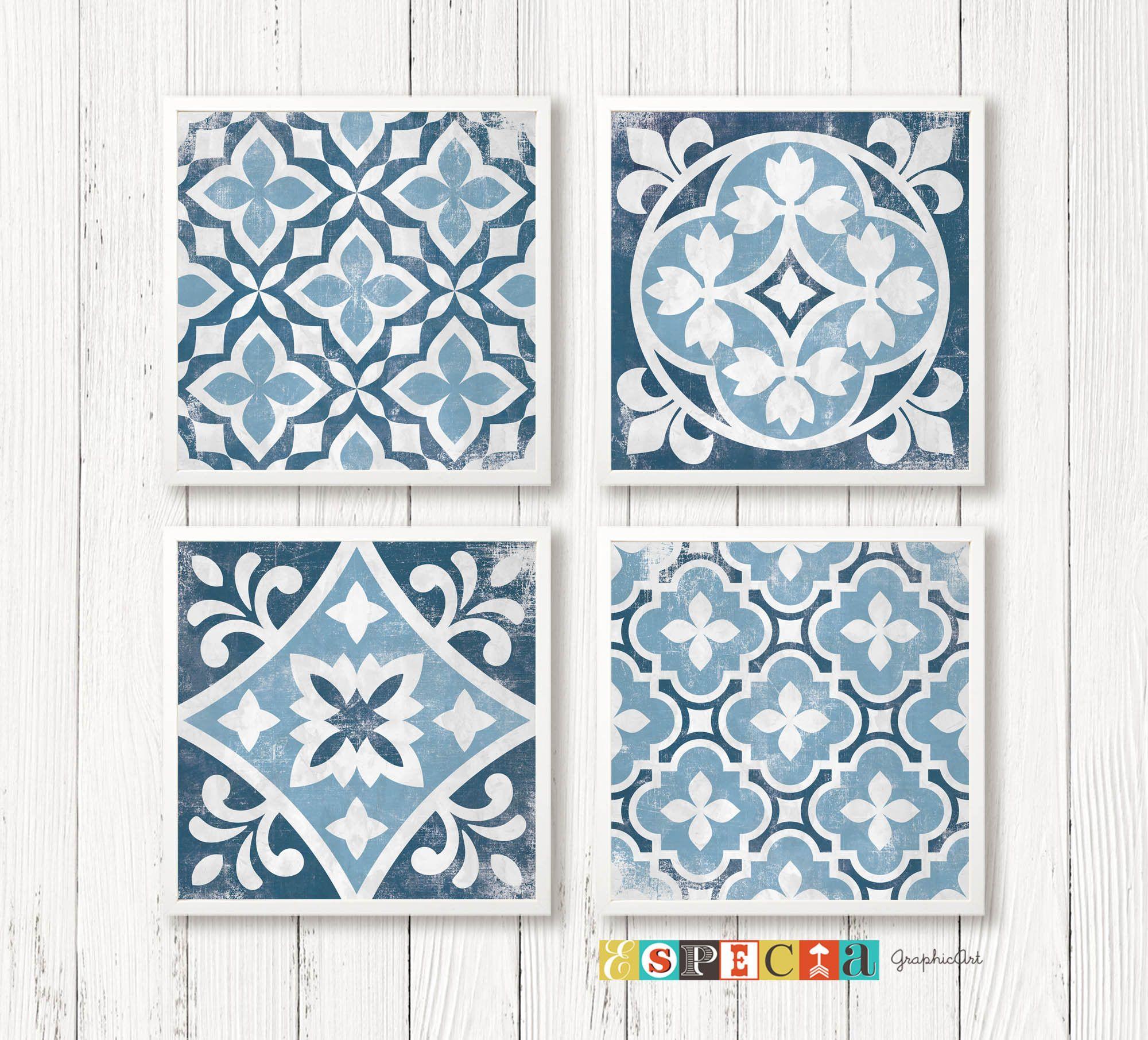 Tiles Design Geometric Tile Art Printable Distressed Blue Wall Decor Set Of 4 8x8 Square Posters Digital Prints Fo In 2020 Geometric Tiles Tile Art Blue Wall Decor
