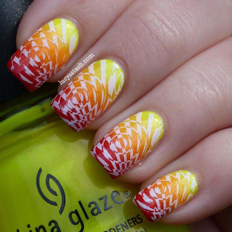 : Summer Challenge Day 7 - 'Sunshine' nail art manicure