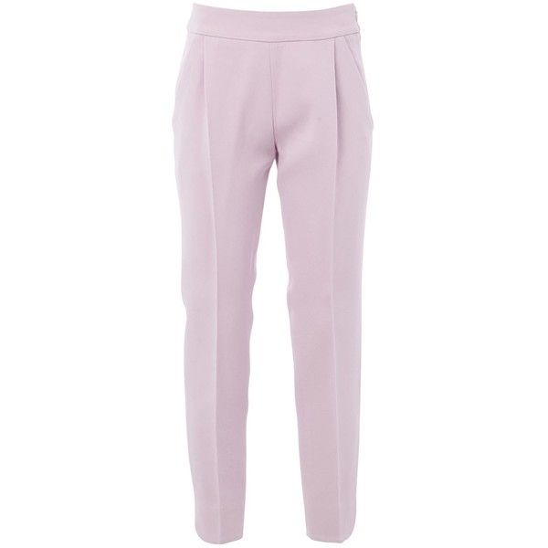 Giambattista Valli cropped trousers (12 870 UAH) ❤ liked on Polyvore featuring pants, capris, giambattista valli pants, cropped trousers, pink crop pants, pink trousers and pink pants