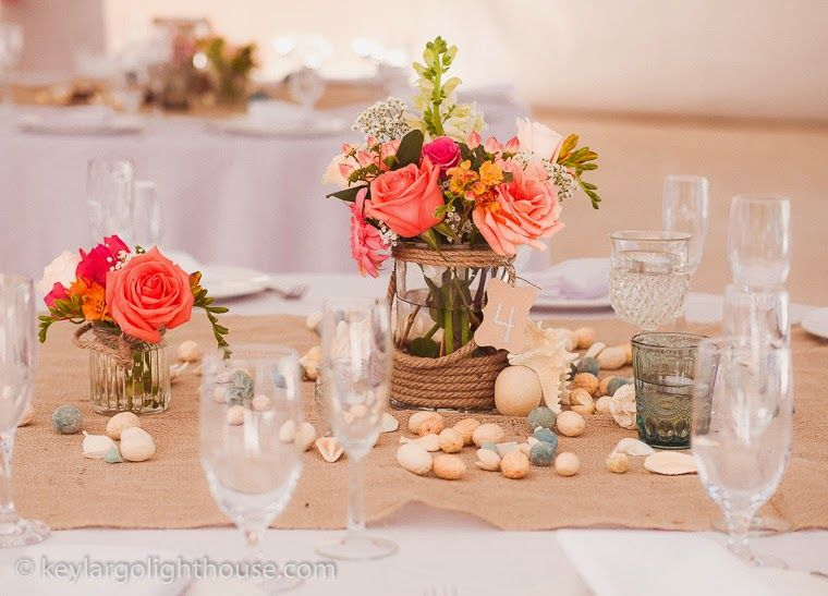 Elegant And Simple Table Centerpieces With Very Colorful Garden Flowers A  Memorable Reception At Key Largo