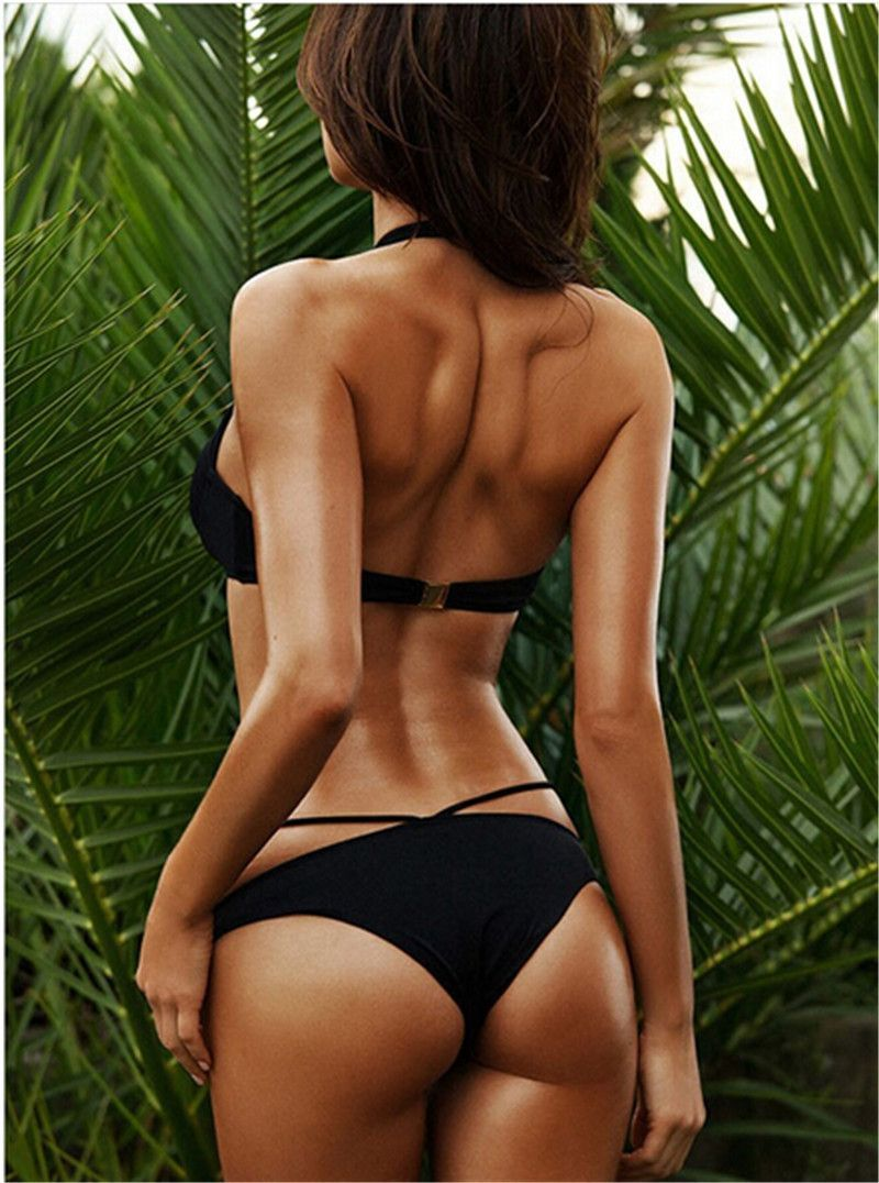 2f90b5caa73fa Sexy Brazilian Bikinis Black Triangle Bikini Set Halter Caged Criss-Cross  Strappy Swimwear Push Up String Bandage Swimsuit Set