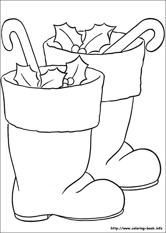 Christmas Boots Drawing.Christmas Coloring Picture Boots Coloring Pages