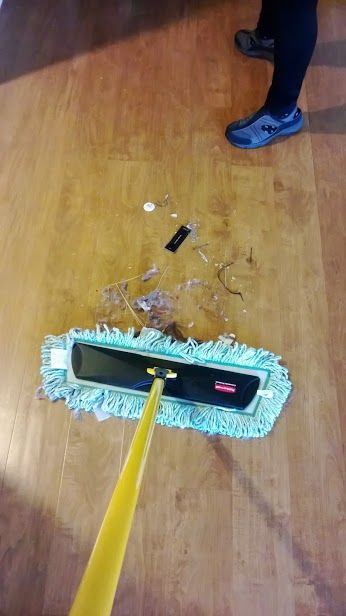 """Even if you think your wood floors are clean...  Early Birds House Cleaning at an allegedly """"pretty clean"""" condo in Irvine, California."""