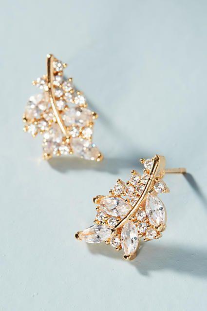 Serefina Leaf Post Earrings Anthropologie #jewelry #earrings