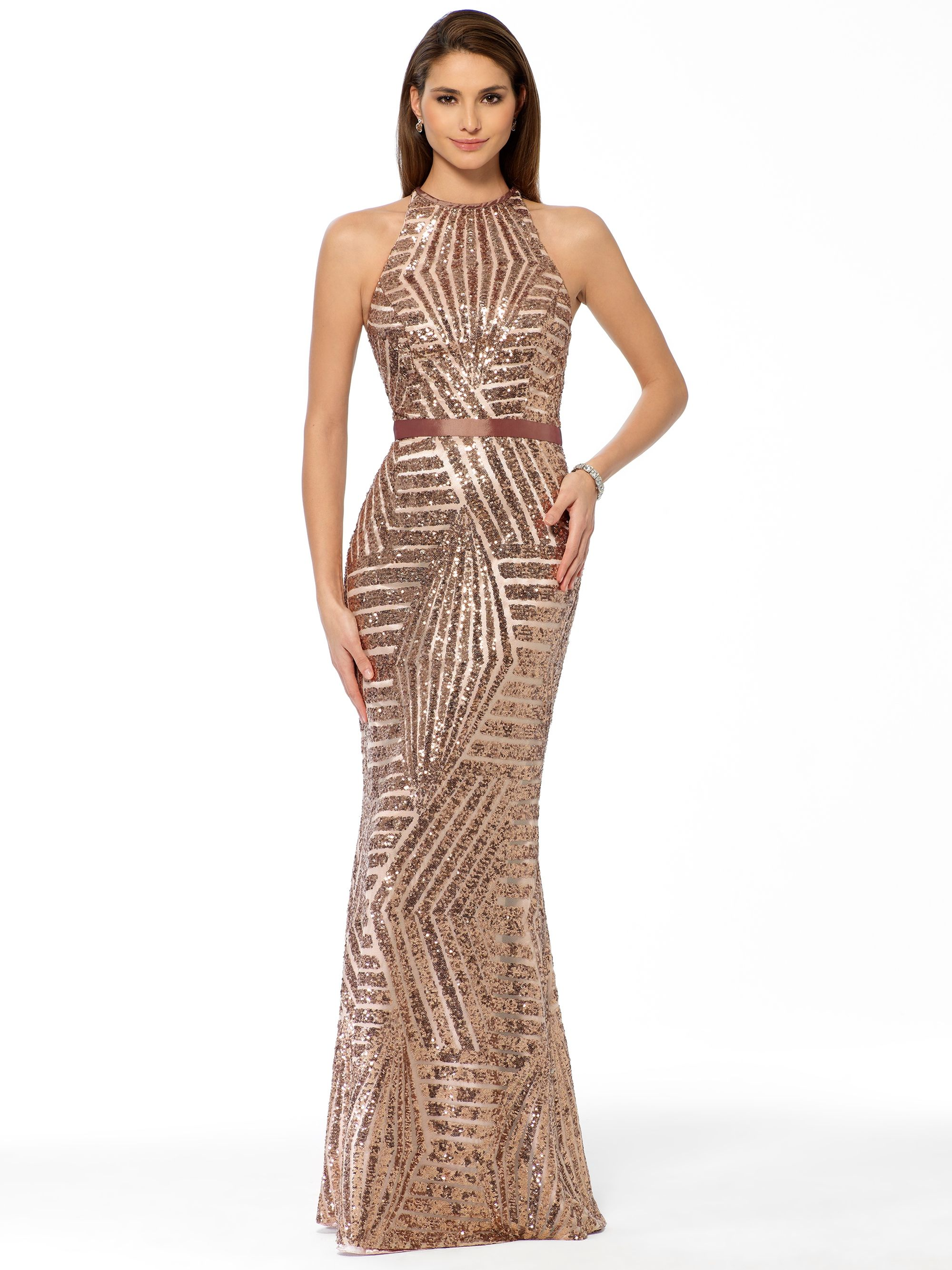 EVENING DRESSES | Champagne Geometric Sequin Gown | Caché | Jenny ...