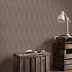 Graham & Brown - Optimum Bronze Geometric Print Wallpaper with Glitter…