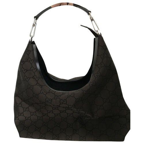 GUCCI HOBO BROWN CLOTH HANDBAG bags