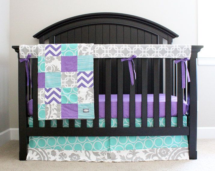 Custom Crib Bedding Purple Teal And Grey Baby Bedding By
