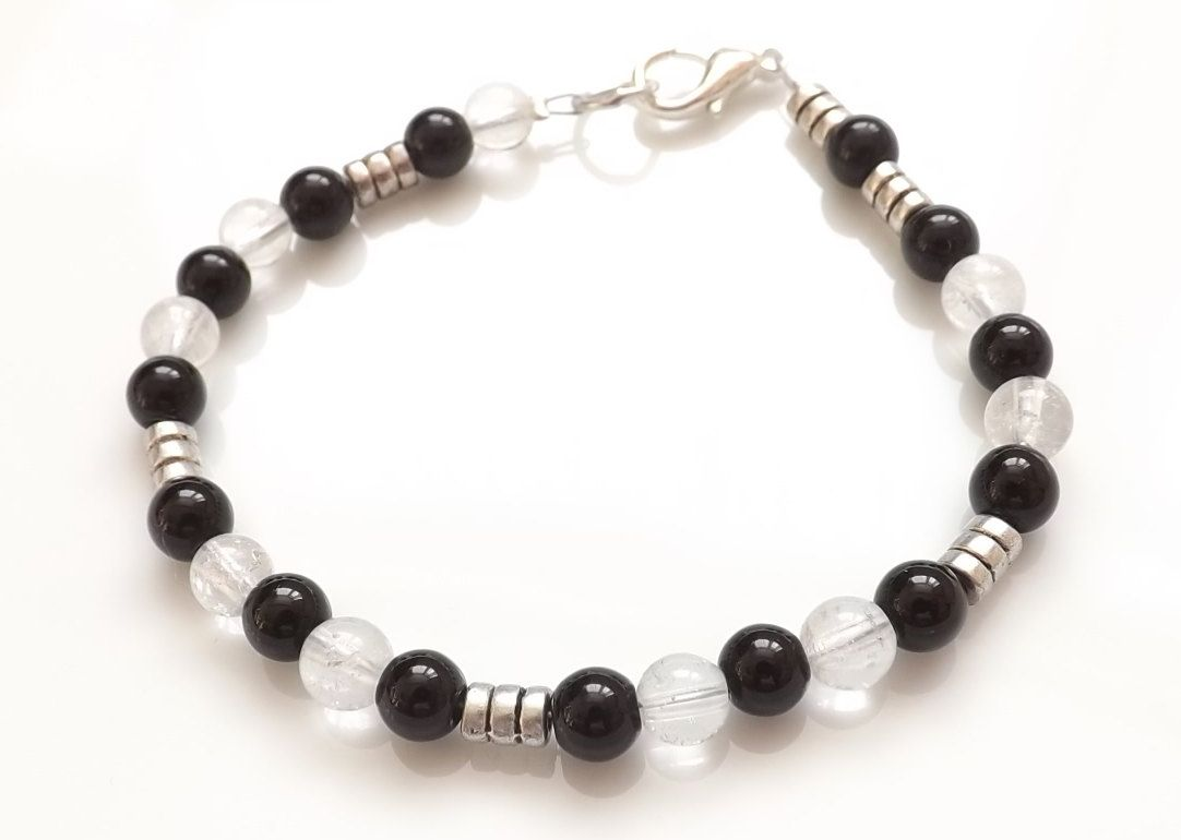 Joe Cool Bracelet Black /& Clear Made with Agate /& Crystal Glass