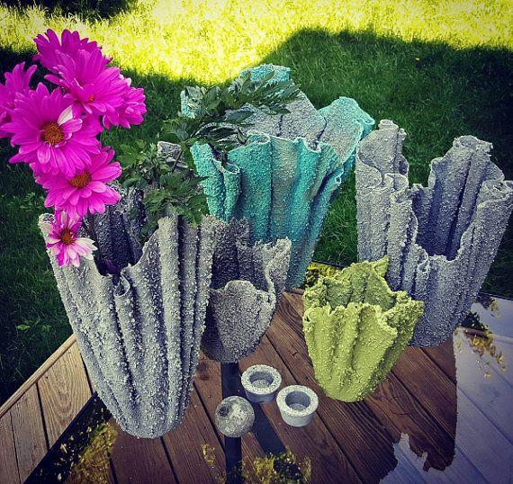 Medium Sized Garden Ideas: Draped MEDIUM Hypertufa Planter Indoor/Outdoor