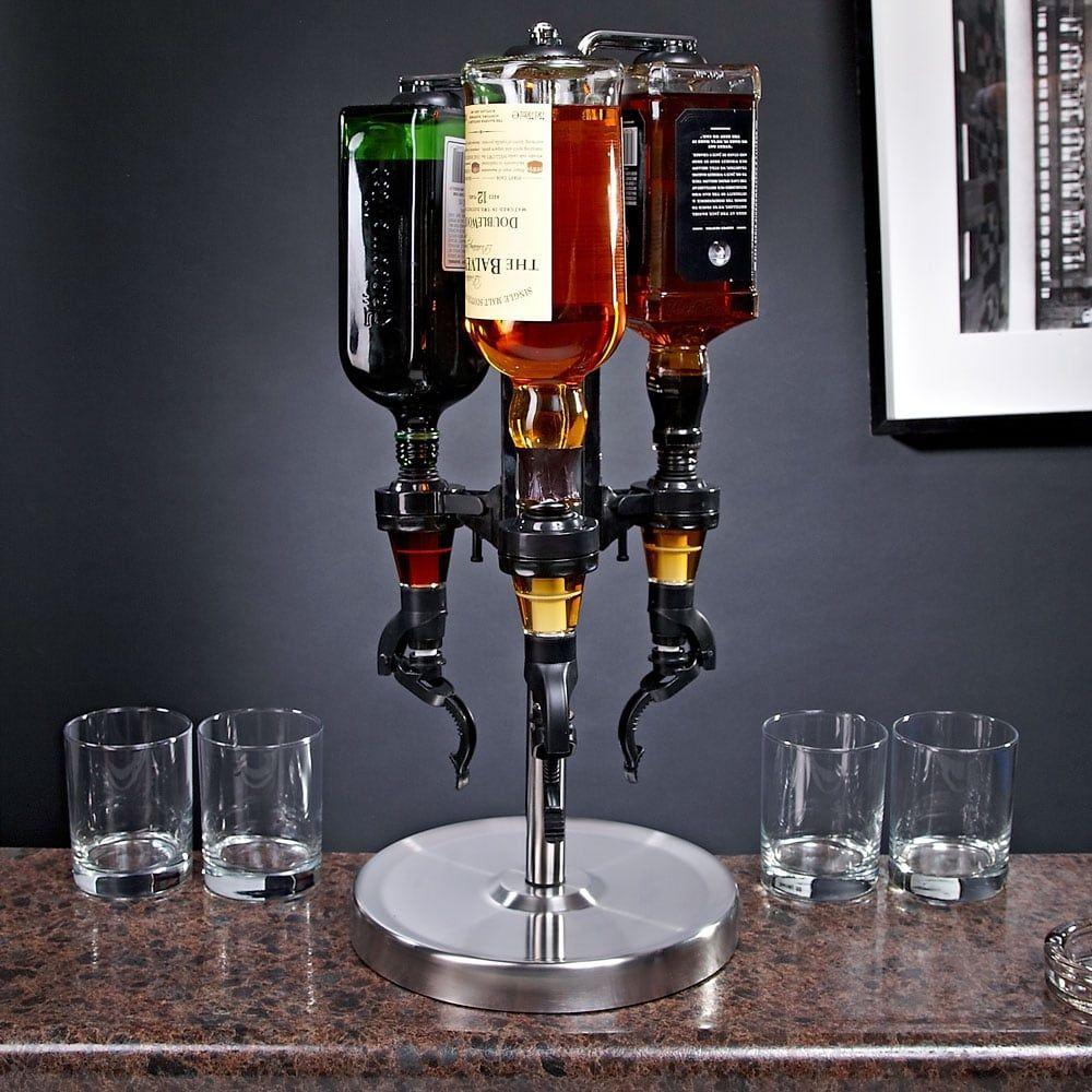 3-Bottle Revolving Liquor Dispenser, Black | Liquor dispenser ...