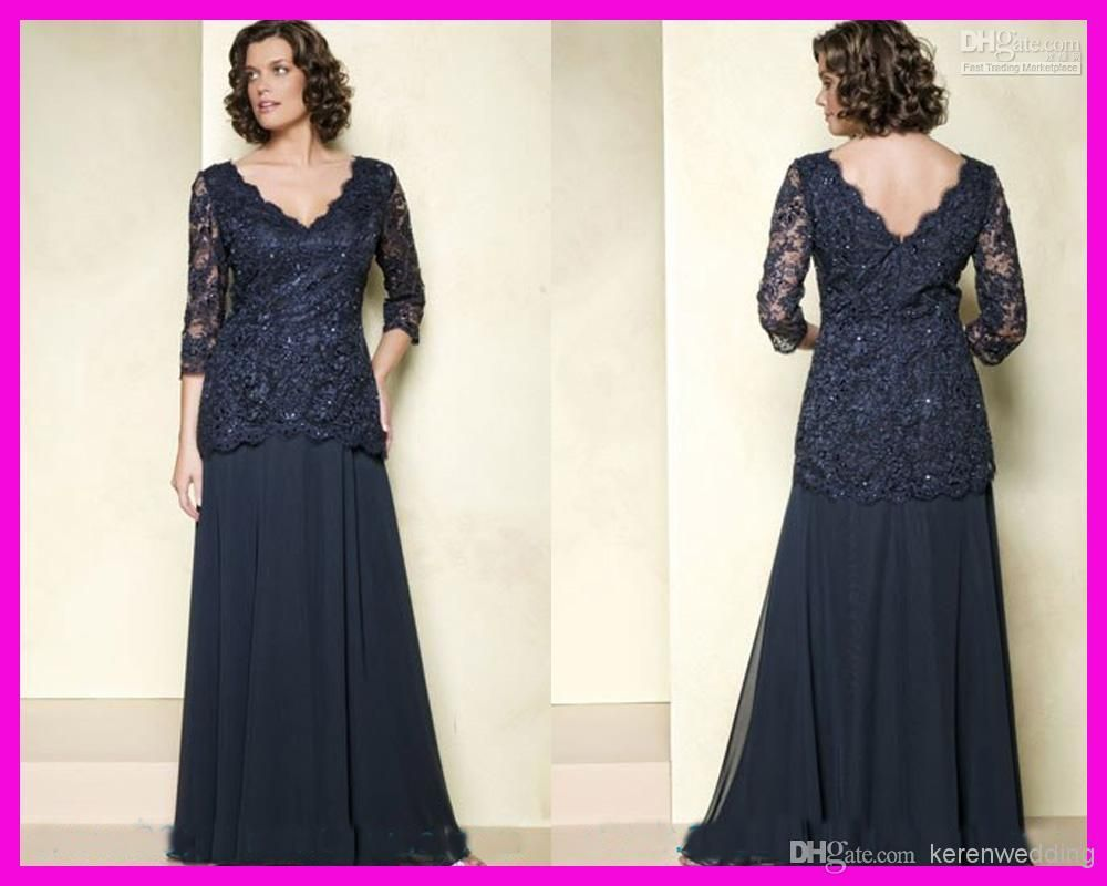 Vintage Plus Size Navy Blue Mothers Dresses With 3/4 Long