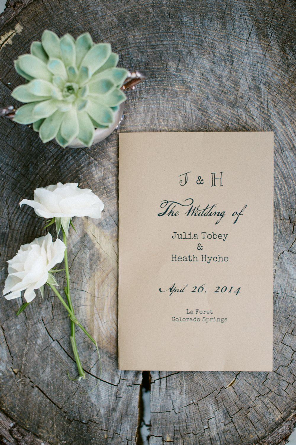 Rustic Wedding Program Photography Bellamint Bellamintphotography