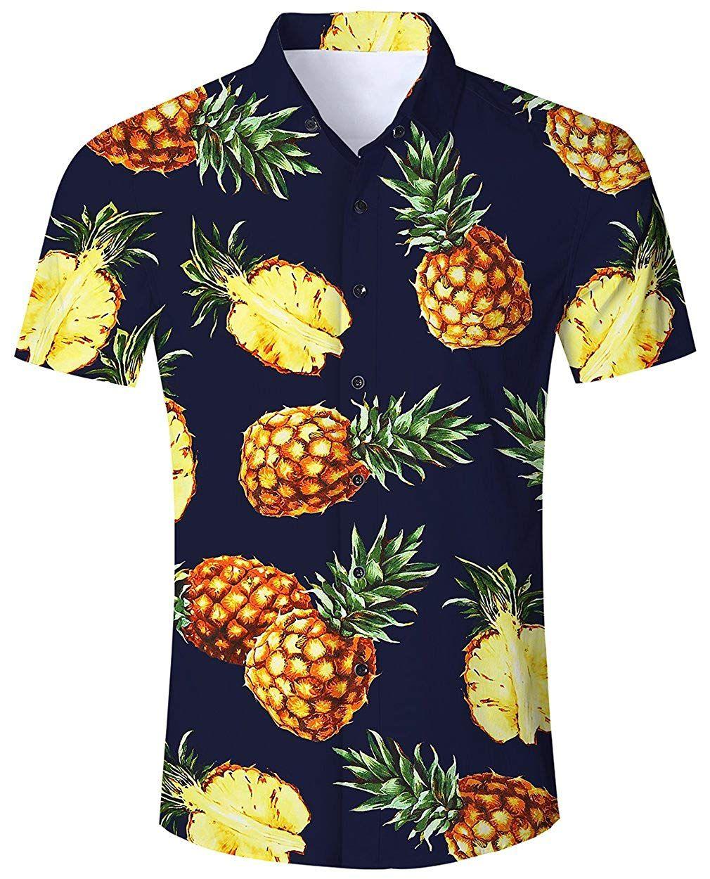 Camisa Hawaiana Para Hombre Mujer Casual Manga Corta Camisas Playa Verano Unisex 3d Estampada Funny Hawaii Pina Negra Disfraceslandia Camisa Hawaiana Ropa Informal Masculina Camisas