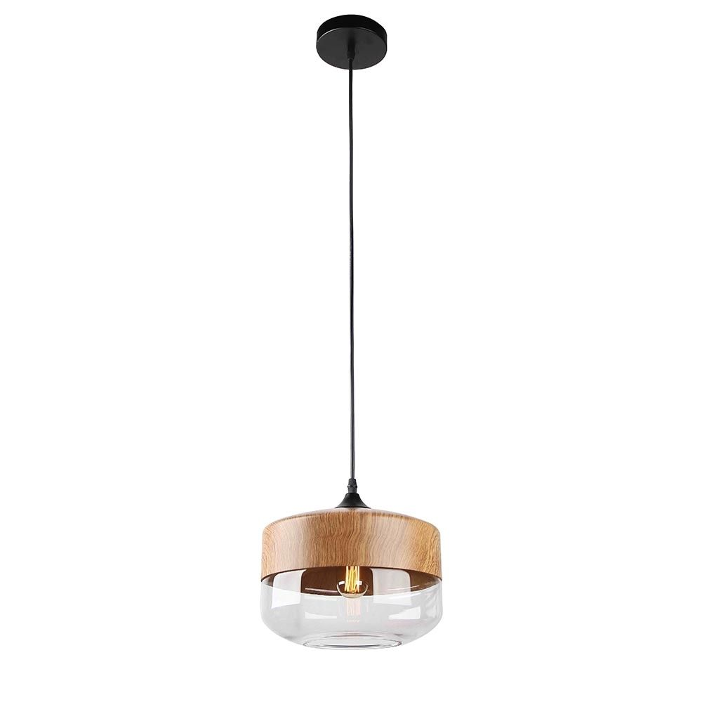 Cult living primo bowl pendant light wood effect clear