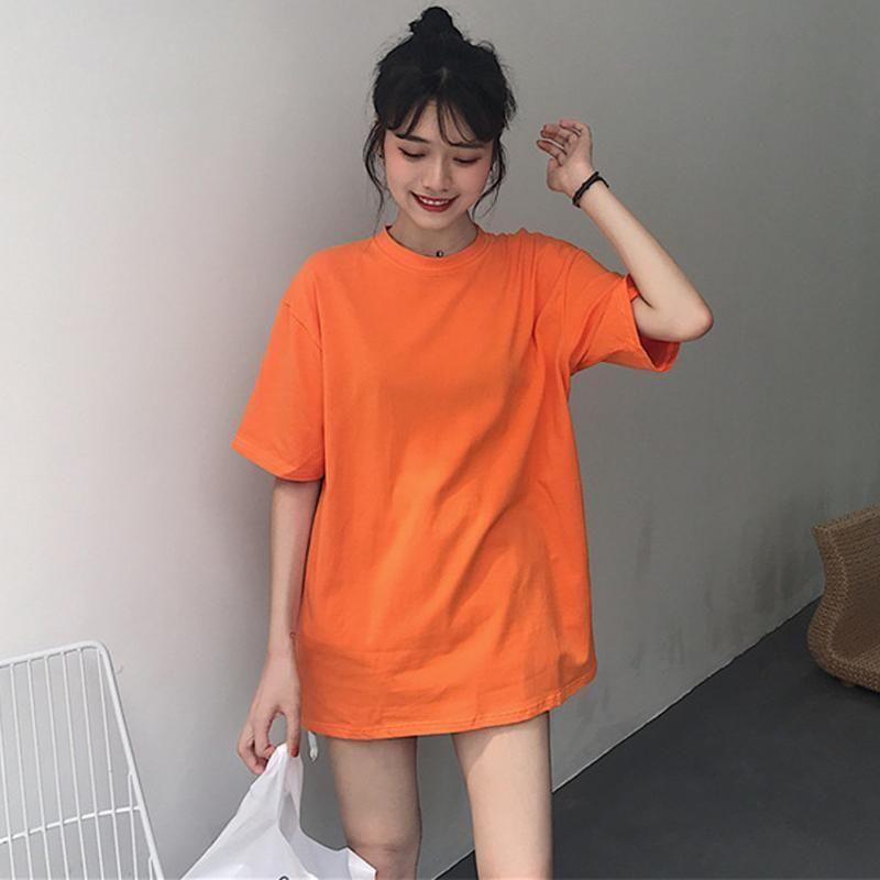 Basic Solid Color Short Sleeve Oversized T Shirt Oversized T