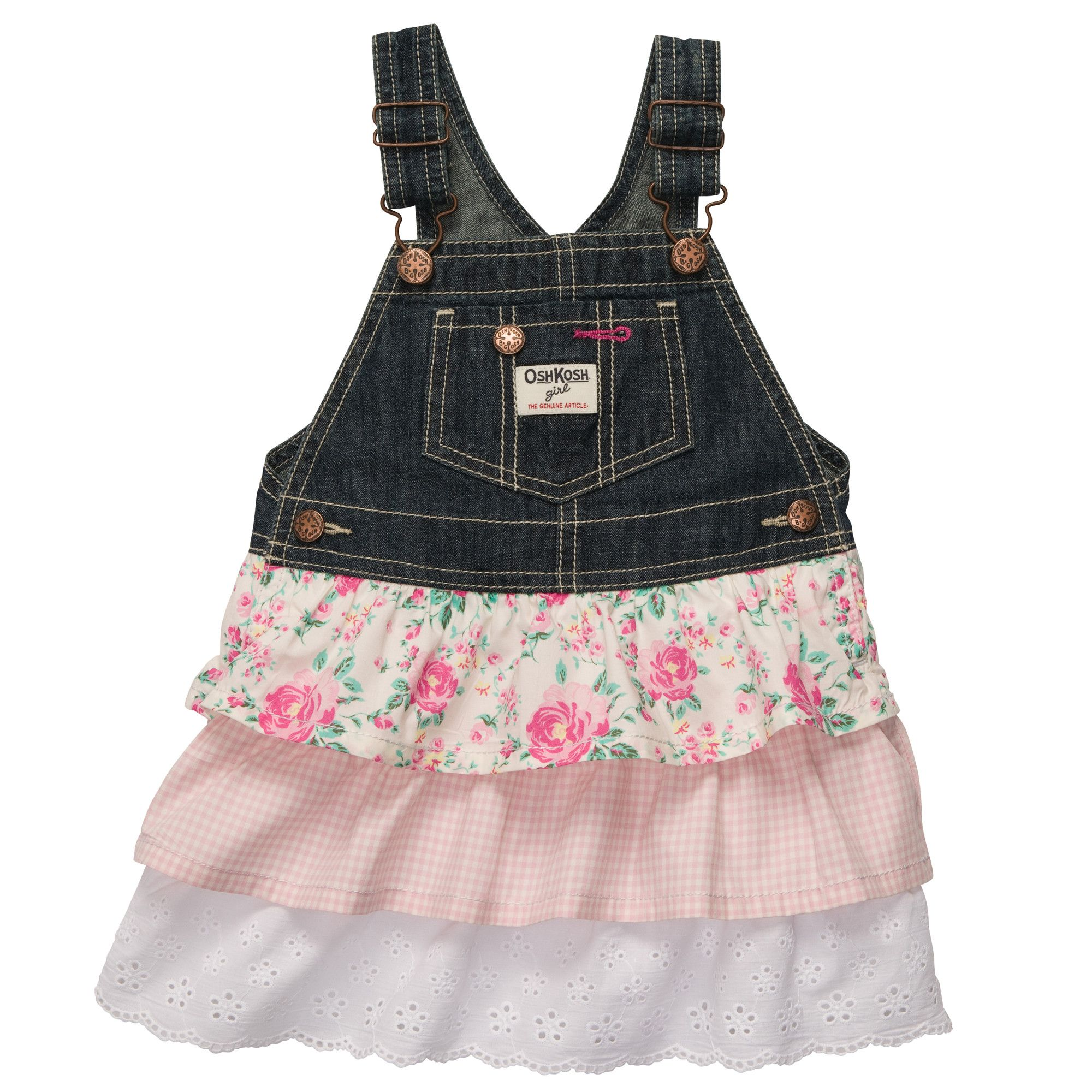 Tiered Floral Lace Jumper Baby Girl Overalls & Jumpers