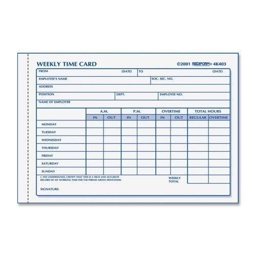 rediform office products timecard pads, weekly, 1 part, 4-1/4\ - payroll spreadsheet template