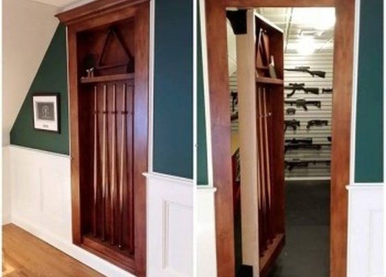 Headboard with secret gun compartments doors room and for Walk in gun safe plans