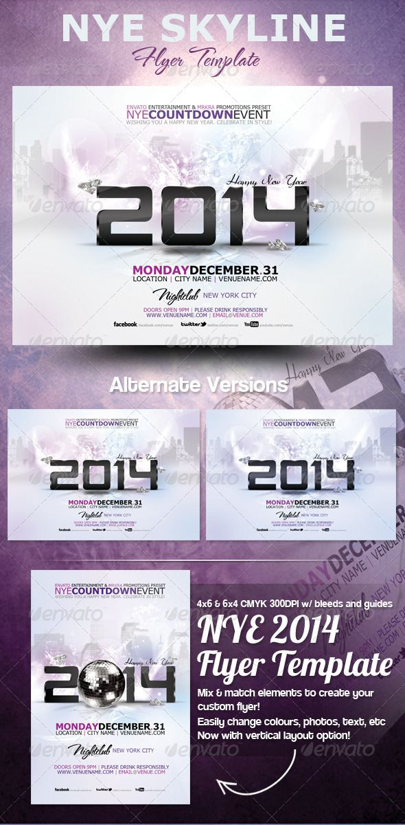 NYE 2014 Skyline Flyer Template | Fonts, Advertising and Flyer template