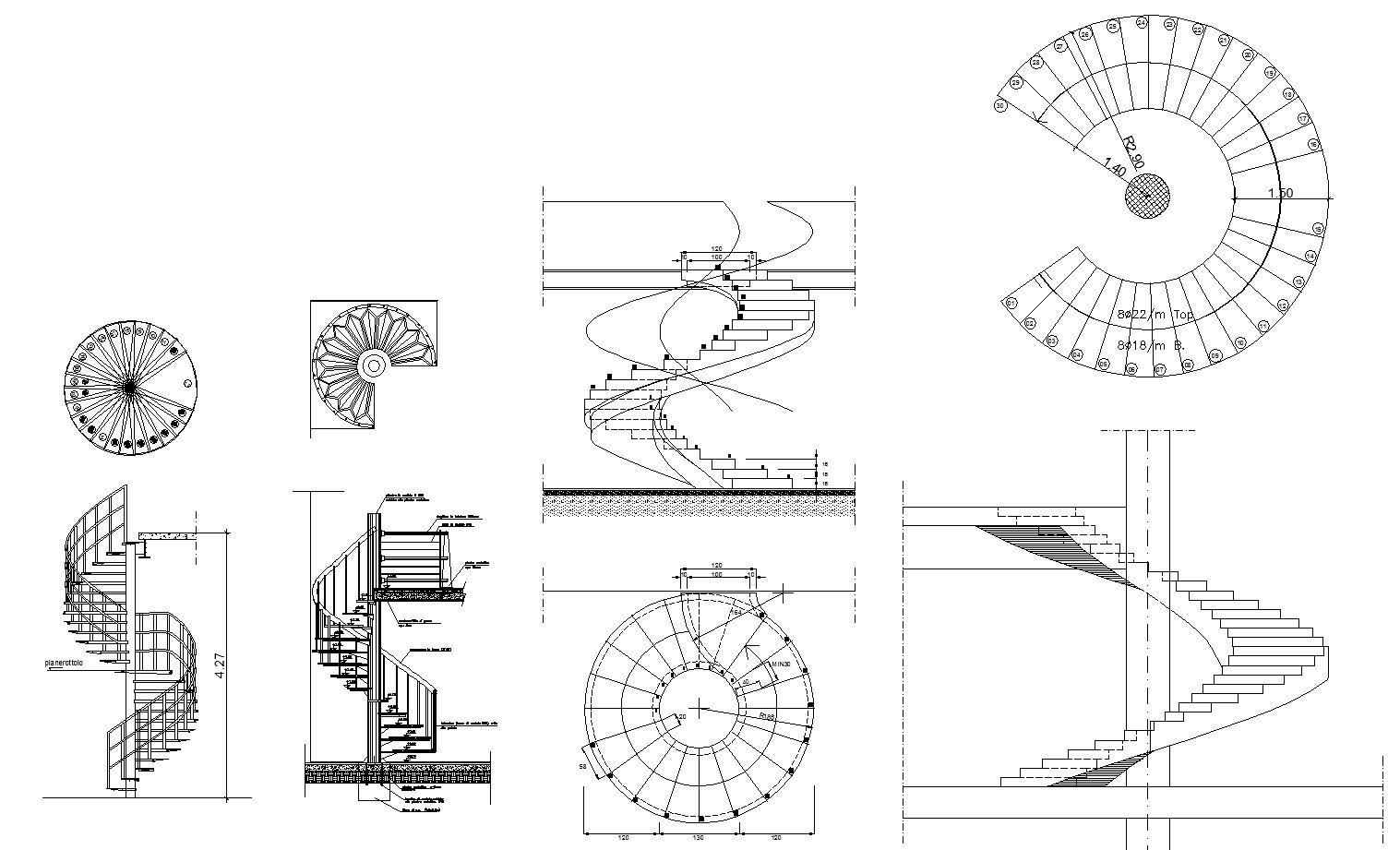 Free Spiral Stair Details Cad Design