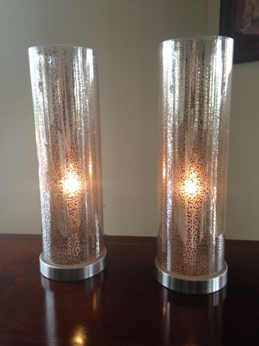 $40 Pair of Art Deco style Mercury glass accent lights. Table lamps with gold speckled mercury glass interiors.