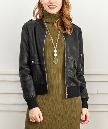 08d1bee633e Another great find on  zulily! Black Bomber Jacket - Women   Plus   zulilyfinds