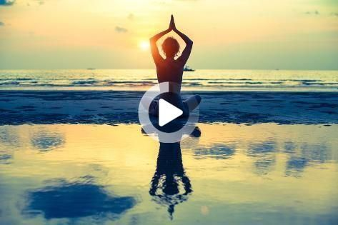'yoga woman sitting in lotus pose on the beach during