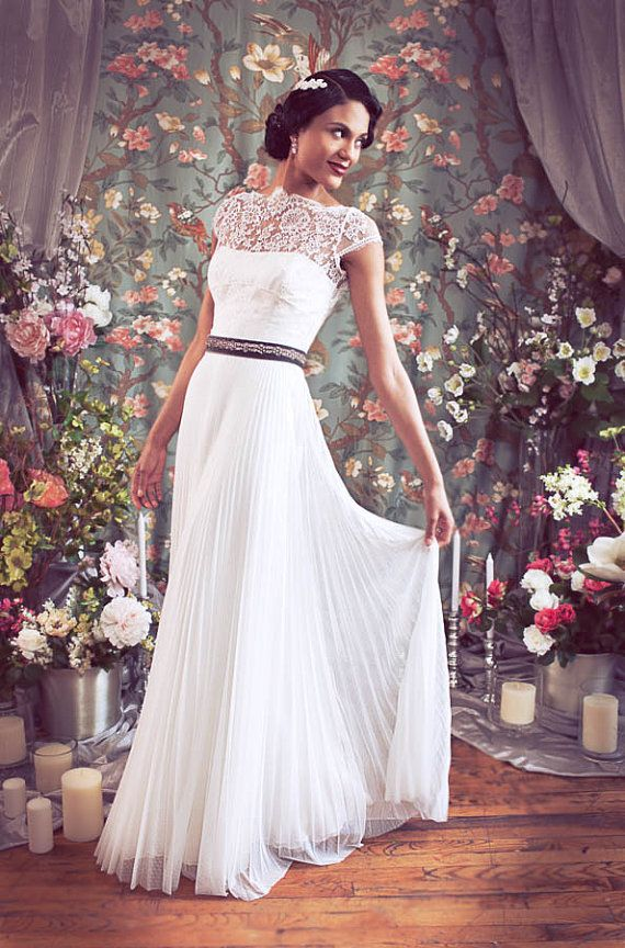 Old Hollywood Cap Sleeve High Bateau Neckline French Lace Pleated ...