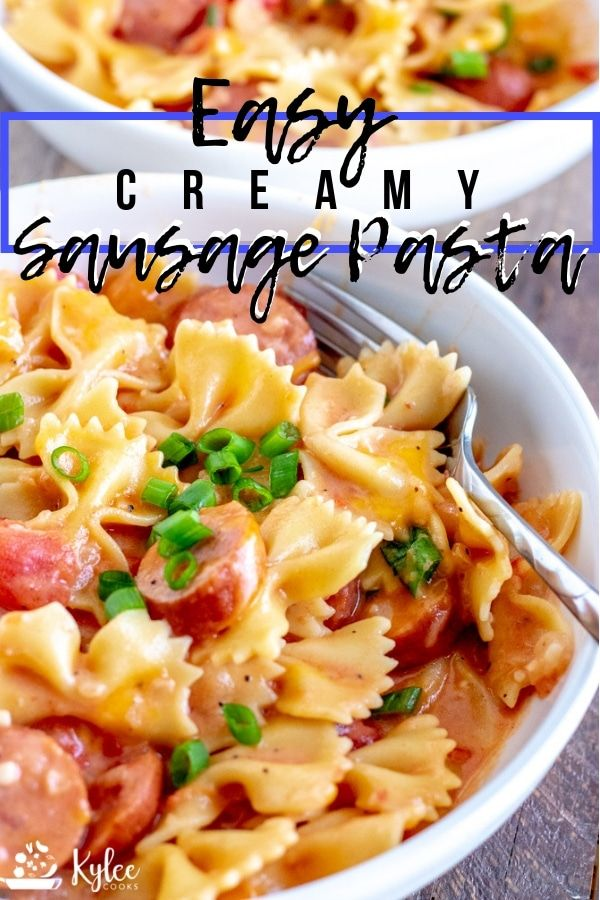 Creamy Sausage Pasta (dinner made in one pan!) #sausagedinner