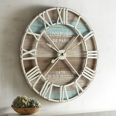 Our Clock Does More Than Tell Time It Makes A Statement Weathered Looking Antiqued Wood Is The Backdrop For The Ro Clock Wall Decor Clock Decor Outdoor Clock