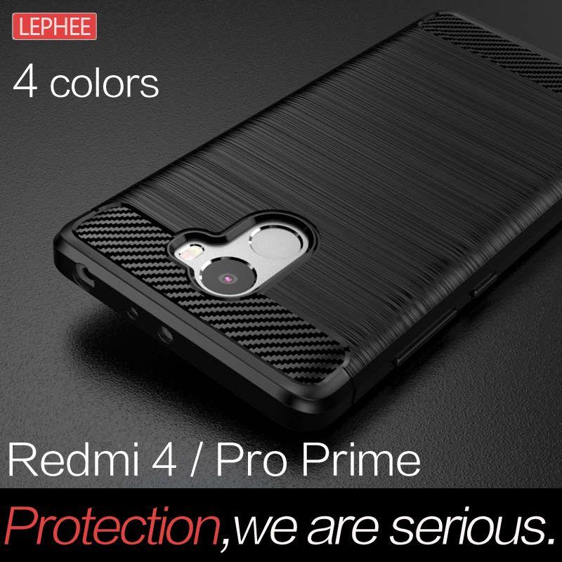 Lephee xiaomi redmi 4 pro case tpu abdeckung für redmi 4 pro prime case silikon weichen carbon brushed abdeckung anti-drop case
