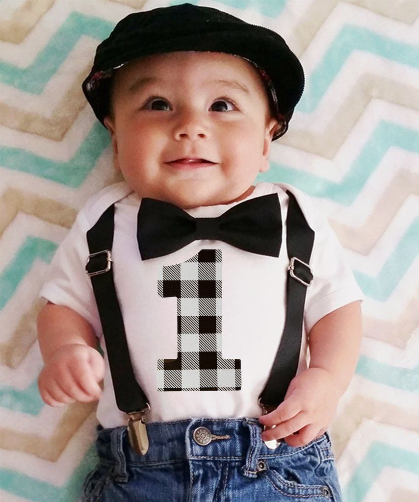 Boys First Birthday Outfit Grey And Black Buffalo Plaid