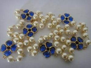 Vintage Chanel 1989 Pearl Blue Gripoix Glass Flower Necklace by abigail