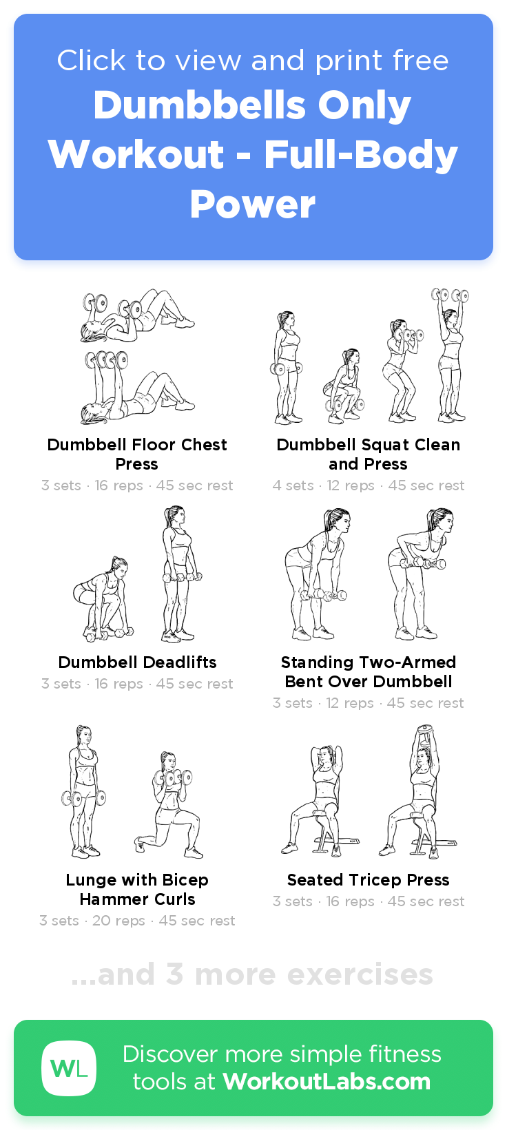 Dumbbells Only Workout - Full-Body Power · Free workout by WorkoutLabs Fit