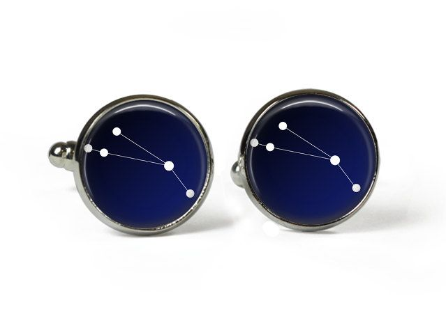 ARIES Constellation Sky Stars Zodiac - Glass Picture Cufflinks - Silver Plated (Art Print Photo) by RosettaLondon on Etsy