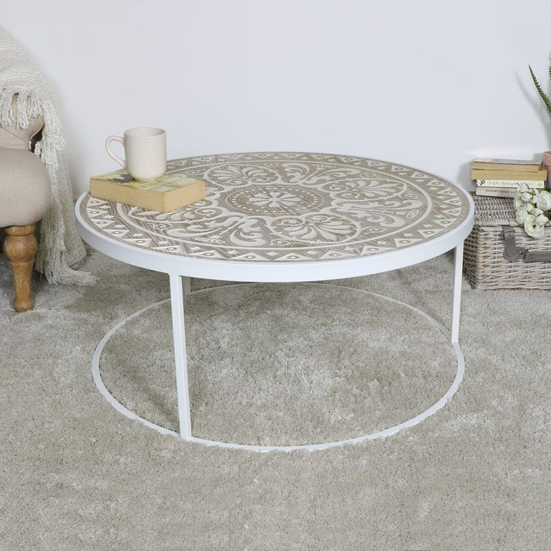 Large Round White Cream Coffee Table Furniture Decor Eclectic