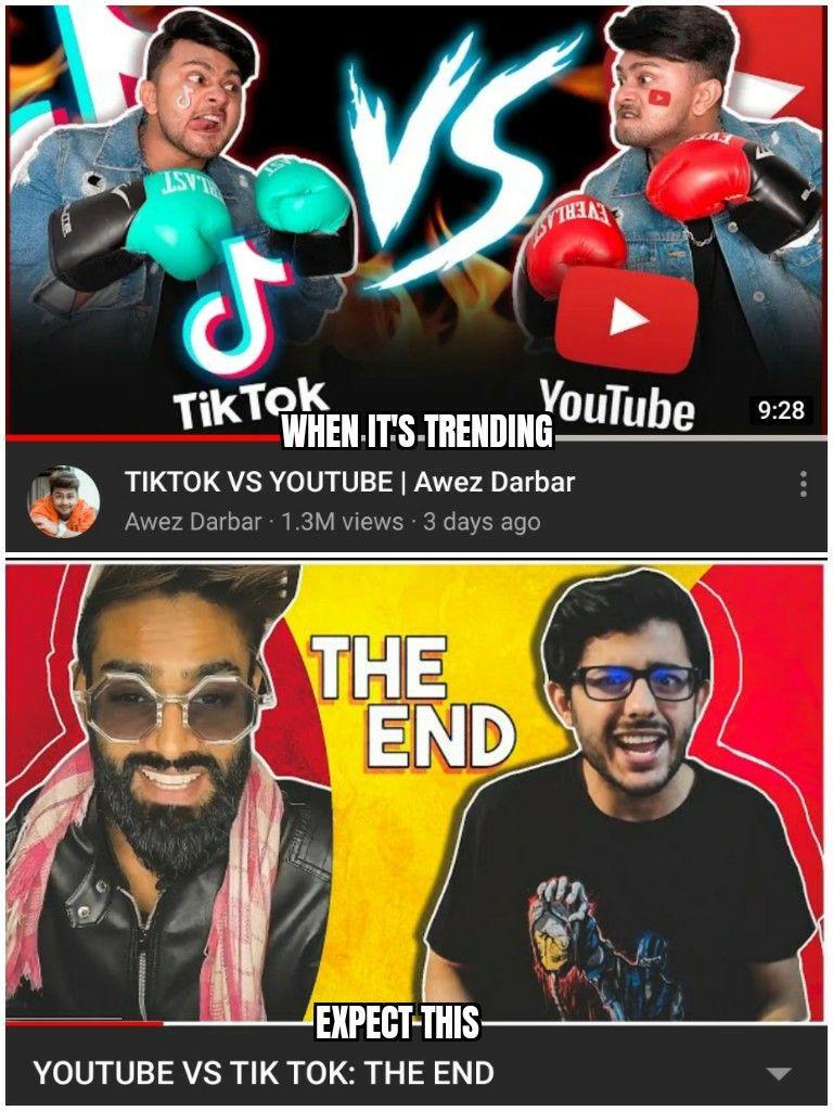 Youtube Vs Tiktok Carry Minati Youtube Memes School Quotes Funny Funny Memes