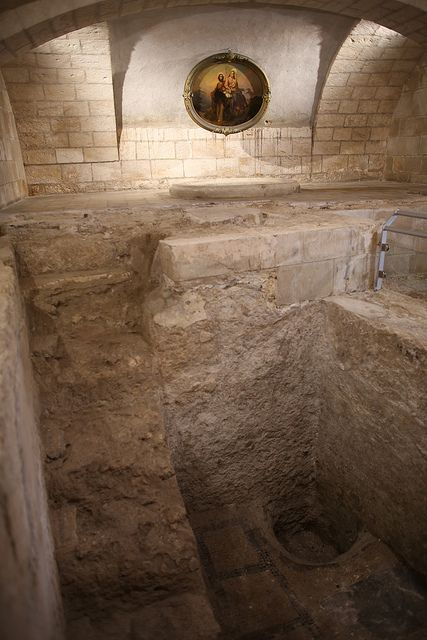 Excavations of the home of Joseph and Mary underneath the Church of St. Joseph, which stands beside the Basilica of the Annunciation in Nazareth.