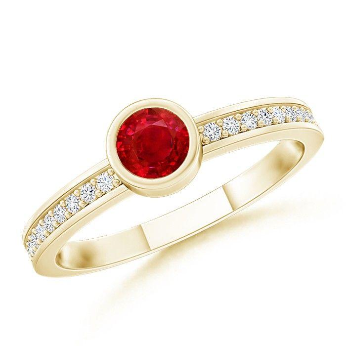 Angara Bezel Framed Round Ruby and Diamond Promise Ring in Yellow Gold JBIxiM