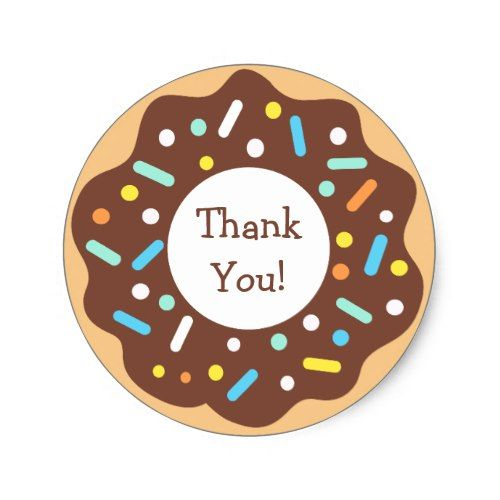 Chocolate donut and sprinkles thank you classic round sticker