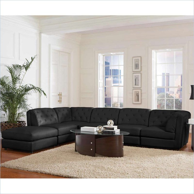 Coaster Quinn Transitional Modular Leather Sectional Sofa In Black 3x551031 2x32 1x33 Kit Sectional Sofas Living Room Modular Sectional Sofa Sectional Sofa