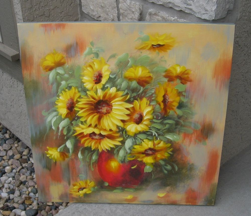 Hand Painted SUNFLOWER Floral Wall PICTURE*Primitive/French Country ...
