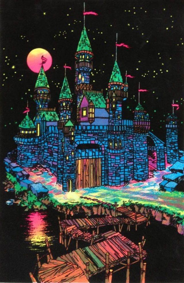 Fantasy castle blacklight poster