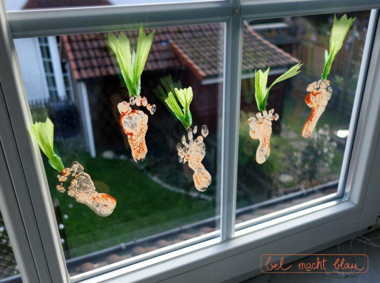 Fensterdeko Im Babyzimmer Karotten Fussabdrucke Geschenke Pinterest