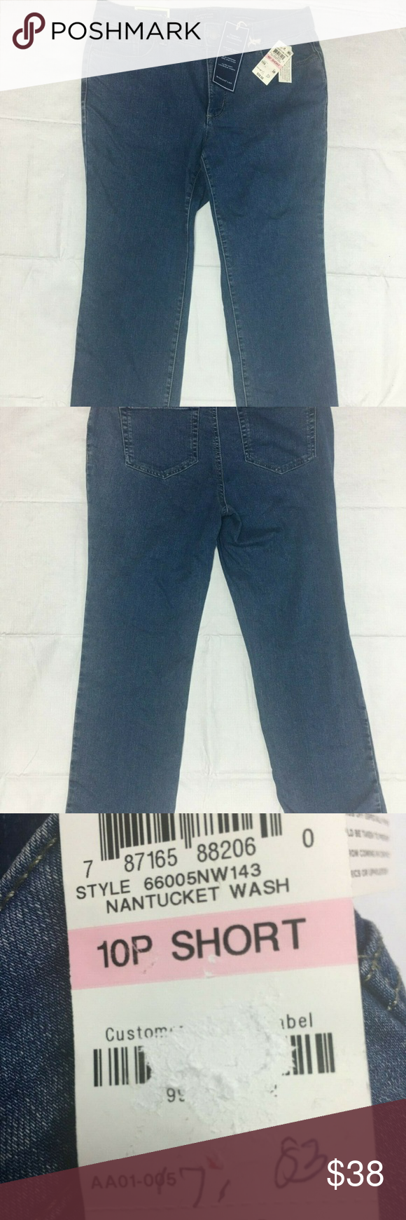 Charter Club Straight Leg Jeans Womens 10 PS Lexin Charter Club Straight Leg Jeans Womens 10 PS Lexington Cotton Elastine NEW  Straight fit through hips and thighs Straight leg is slightly tapered Shank and zipper fly closure belt loops Classic 5-pocket styling Designed to fit and flatter 5'4