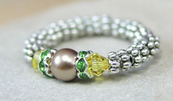 Ring Pearl and Crystal Yellow and Green with by elegantyoubeads, $20.00
